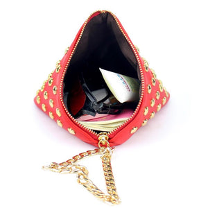 red triangle bag studded bag edgability inside view