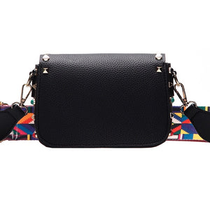 black bag studded bag printed strap edgability back view