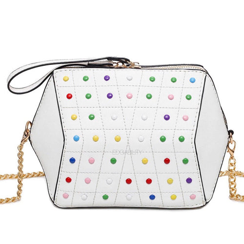 hexagonal studded white bag edgability
