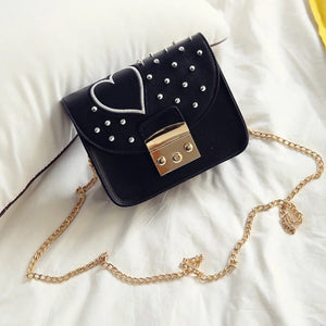 silver spikes studded heart black bag model view edgability