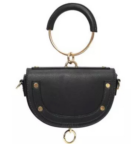 U shaped studded black wristlet with hoop edgability