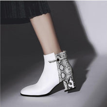 trendy boots ankle boots snakeskin boots with block heels edgability model view