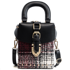 black plaid bag studded bag box bag edgability front view