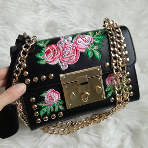 embroidered studded bag in black edgability model view