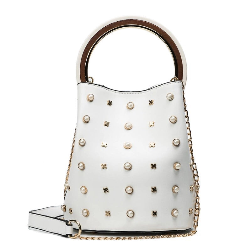 studded bag bucket bag white bag edgability