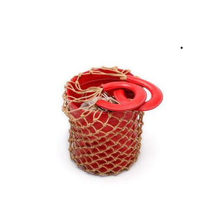 bucket bag basket drawstring bag red bag edgability open view