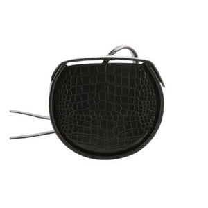 black flat round croc skin box bag edgability