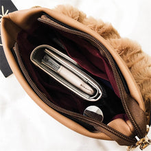 bucket bag fur bag brown bag edgability inside view