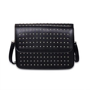 silver micro studded black shoulder bag edgability