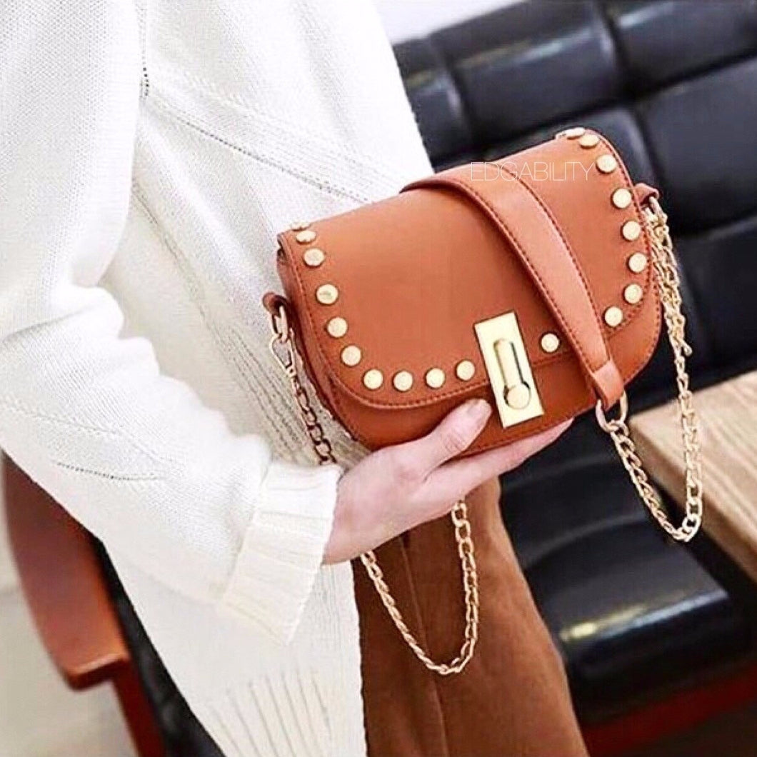golden studded mini brown handbag model view edgability