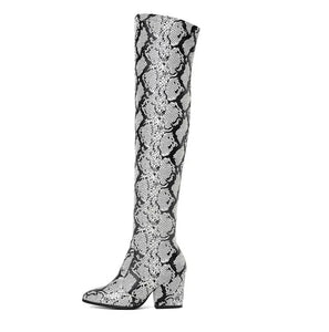 trendy knee high snakeskin grey boots with heels edgability side view