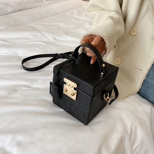 classy leather black box bag edgy fashion edgability model view