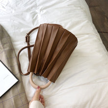 pleated bucket bag brown bag edgability flat view
