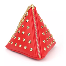 red triangle bag studded bag edgability angle view