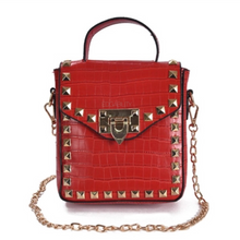 red croc skin studded bag with handle Edgability