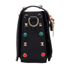 black bag studded bag printed strap edgability side view
