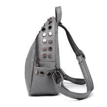 silver studded grey mini backpack edgability side view