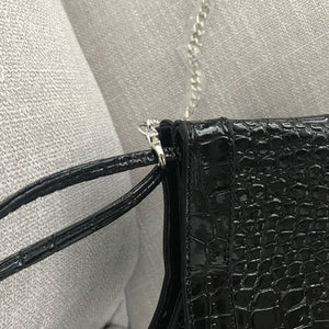 croc skin black bucket bag edgy fashion edgability detail view