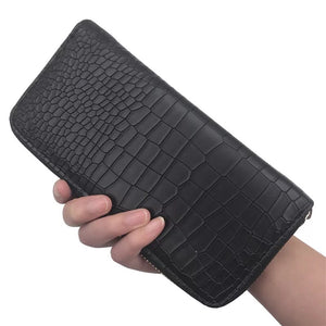 croc skin black wallet edgability model view