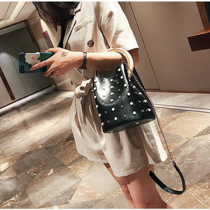 studded bag bucket bag black bag edgability model view