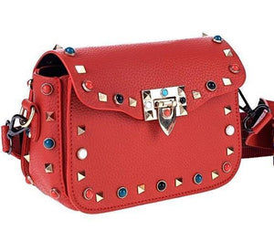 multi coloured studded red bag edgability angle view