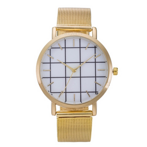 grid metallic gold straps golden watch edgability