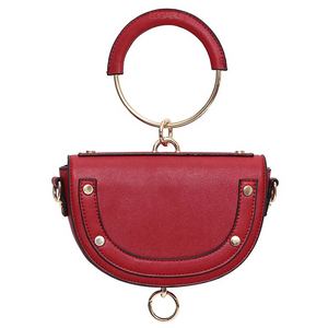 U shaped studded red wristlet with hoop edgability