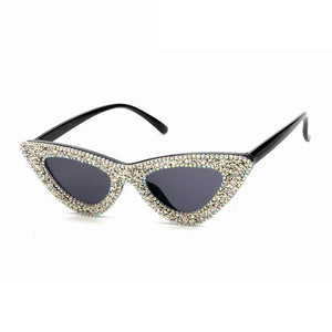 sparkly diamond studded trendy sunglasses retro shades edgability front view