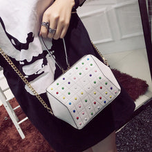 hexagonal studded white bag edgability model view