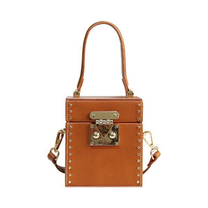 tan studded bag box bag edgability front view