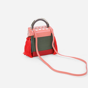 quirky box bag with red tassels edgability back view