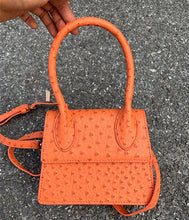 ostrich leather orange bag edgy fashion edgability front view