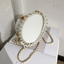 pearl studded white bag box round bag edgability angle view