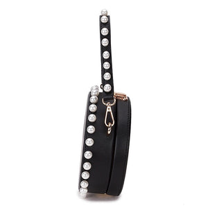 pearl studded black bag box round bag edgability side view