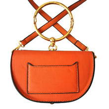 orange wristlet studded bag sling bag edgability back view