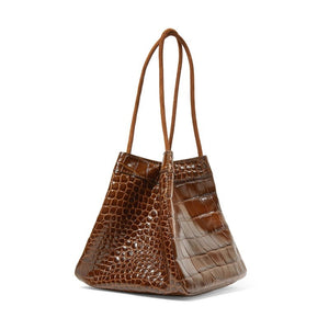 croc skin brown bucket bag edgy fashion edgability