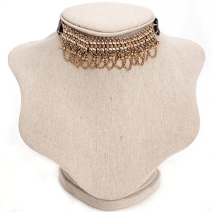 gold ethnic choker edgability model view