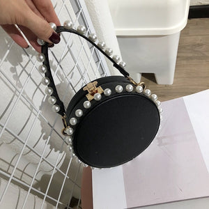 pearl studded black bag box round bag edgability model view