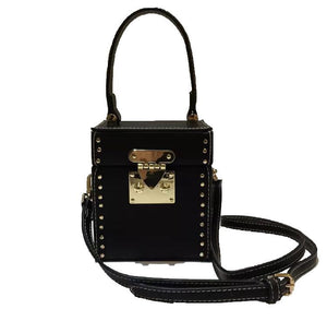 black studded bag box bag edgability front view