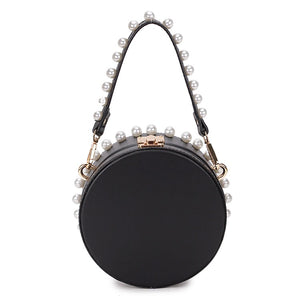 pearl studded black bag box round bag edgability back view