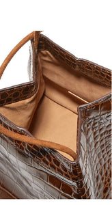 croc skin brown bucket bag edgy fashion edgability top view