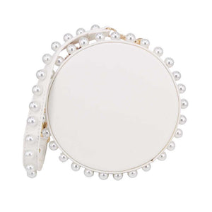 pearl studded white bag box round bag edgability front view