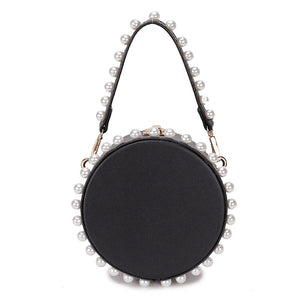 pearl studded black bag box round bag edgability front view