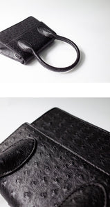 black bag ostrich leather classy bag edgability detail view