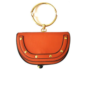 orange wristlet studded bag sling bag edgability