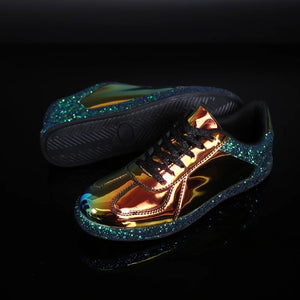 chrome metallic sneakers glitter trainers shoes edgability angle view