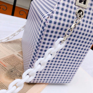 box bag checkered bag sling bag blue bag edgability detail view