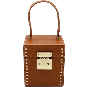 tan studded bag box bag edgability