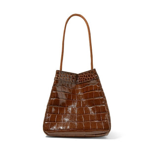 croc skin brown bucket bag edgy fashion edgability side view