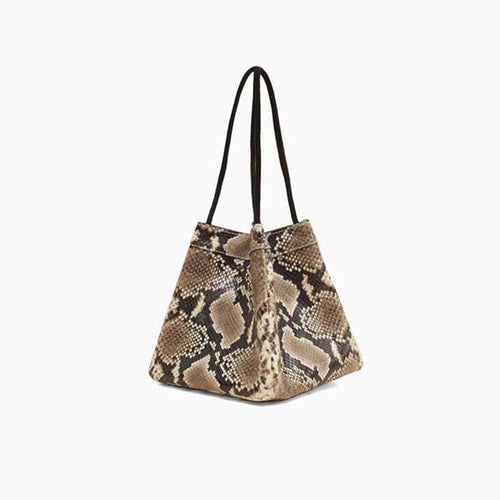 snakeskin brown grey bucket bag edgability